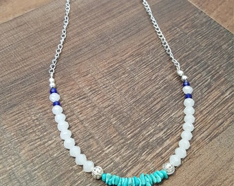 Semi precious turquoise chip necklace