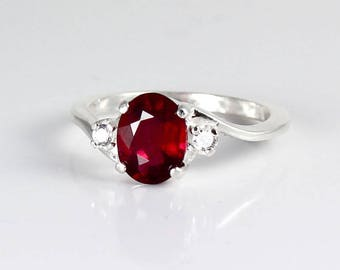 Genuine Ruby Ring Sterling Silver /  Pigeon Blood Ruby Silver Ring