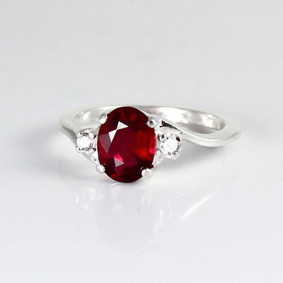 genuine ruby ring sterling silver pigeon blood ruby silver