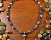 Hematite Thor's Hammer Skull Necklace - Thor's Hammer Necklace, Skull Necklace, Mjolnir, Mjolnir Necklace, Mjolnir Jewelry, Viking, Norse