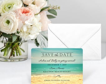 Kona - Card - Save the Date - Includes Back Side Printing + Envelope