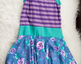 2-3 years purple stripe and floral twirl skirt dress. Ready to ship. Little Lapsi