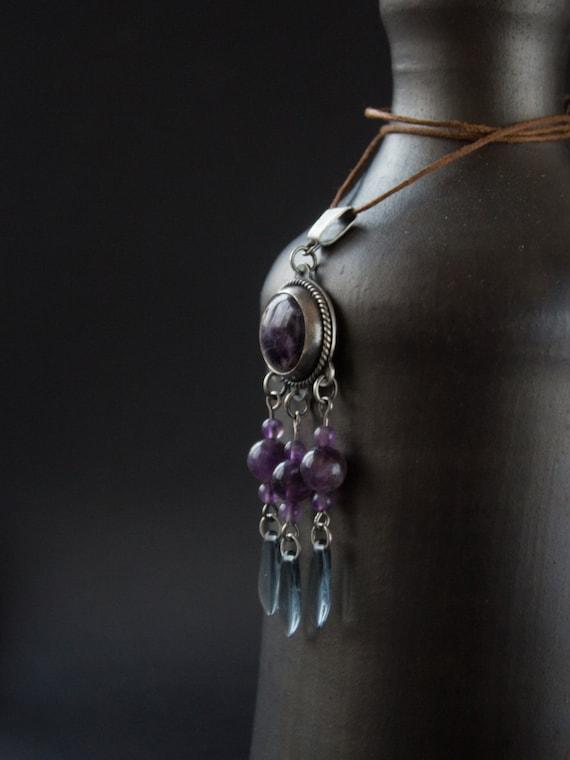 Silver pendant amethyst,  silver amethyst pendant, silver pendant ethnic, boho amethyst pendant, ethnic jewelry, purple silver pendant