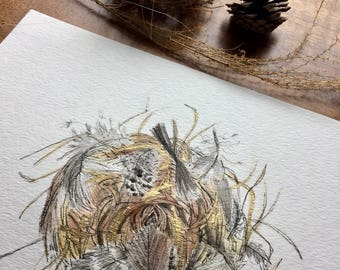 "8x10 Original Art ""The Natural Nest"" Watercolor Ink on linen watercolor paper-Bird Nest-Woodland-Nature Art"