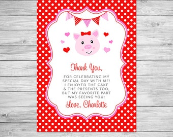 Hogs & Kisses Thank you Front and Back - Birthday Party Thank you Printable - Valentine, Pig, Thank you Card