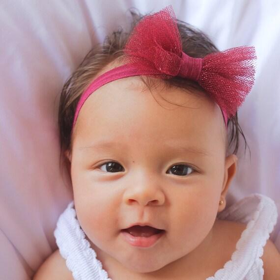 Baby Bow Headband, Baby Headband, Baby Headbands, Bow Headband, Burgundy Headband, Tulle Headband, Sparkle Headband, Best Seller