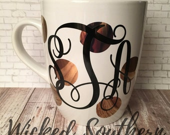 Monogram Mug- Gold Polka Dots- Jumbo Coffee Mug