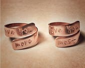 READY TO SHIP Mother's Day  Copper Hand Stamped Set Of Two Wrapped Rings I Love You More Most - Mother Daughter -