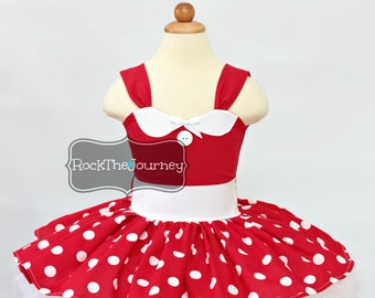Red Minnie Tutu Dress Outfit-Retro Diner Birthday Party Dress-White Polka Dots Halloween Pageant Mouse Costume-Baby Girl 1st First One 1 2 3