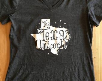 Texas Unicorn Ladies V-Neck Tee