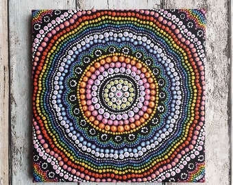 Rainbow Dot design Aboriginal Painting, Acrylic Painting on 20 x 20 cm stretched canvas, Rainbow Decor, Authentic Australian Aboriginal Art