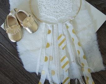 Dream Catcher - Shabby Chic Baby Mobile - White & Gold