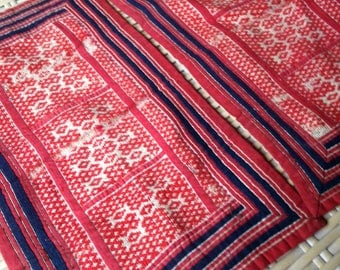 Vintage Handmade Hmong Fabric embroidered Red Hilltribe Textile ethnic style set of 2