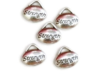 5 Pcs Strength Silver Tone Recovery Pendant Charms – 12 Step Recovery
