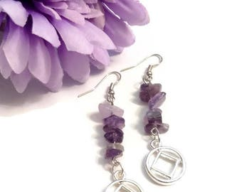 NA Amethyst Earrings With Silver Tone Charms – 12 Step Recovery Narcotics Anonymous