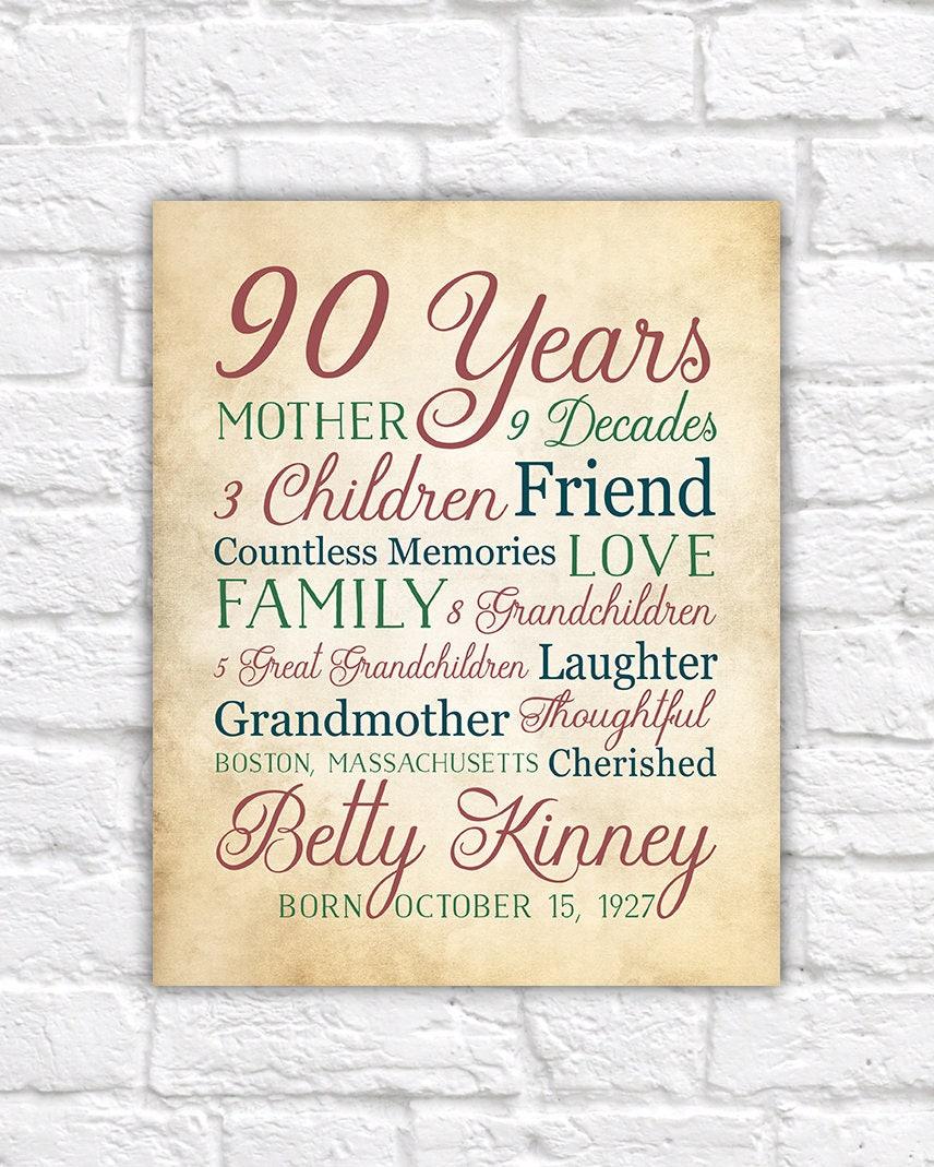 90th birthday gift for 90 year old born 1928 birthday for Good birthday presents for grandma
