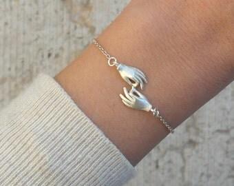 Silver bracelet adjustable handmade silver two hands bracelet friendship bracelet love bracelet - AME D' ARGENT