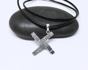 Saint Brigid Cross Necklace Sterling Silver Cross Celtic Necklace Large Celtic Pendant Saint Brigid's Cross Pendant Silver Necklace