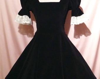 Sew Lush...Black Velvet and Ivory Lace Goth Lolita Skater Dress