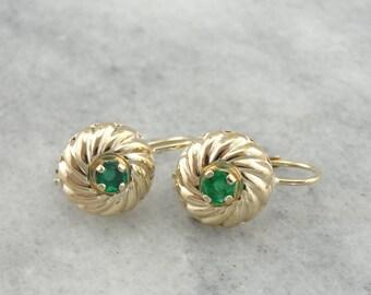 Swirling Yellow Gold and Emerald Drop Earrings TPCWKK-R