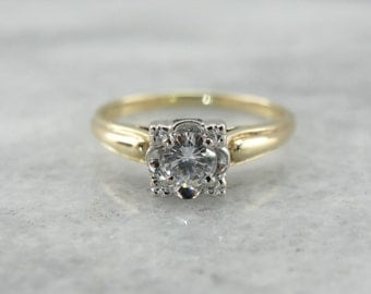 Bright Illusion Set Diamond Engagement Ring in Two Tone Gold DLXH28-N