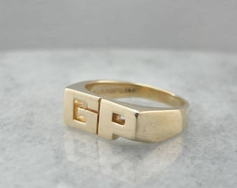 Vintage GP Initial Pinky Ring in Yellow Gold CYFV96-D