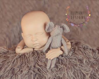 Little Elephant Stuffy - Newborn Photography Prop Elephant - Knit Elephant Stuffy  - Newborn Elephant Prop - Knit Safari Animal Stuffed Toy
