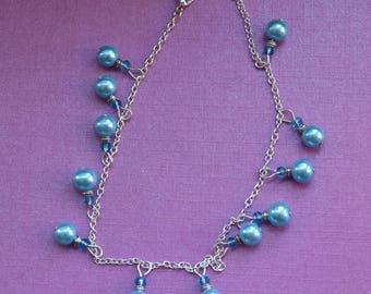 Blue anklet, blue ankle bracelet, crystal anklet, something blue anklet, bridal anklet, foot bracelet,  pearl anklet, crystal foot bracelet