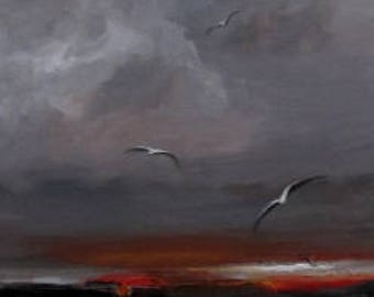 "Original Seascape Painting by CES - Abstract Landscape Seagulls Bird Minimalist Textured Cloudy Sky Red Gray Grey Canvas Wall ART 10"" x 30"""