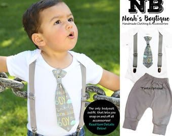 Baby Boy Clothes - Tie and Suspenders Outfit - Shirts for Toddler Boys - Planes - Gray - Mint - Baby Boy Gift - Boy Outfits - Baby Shower