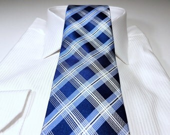 Silk Tie in Plaid Checks with Navy Blue Light Blue White