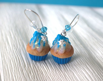 Frozen inspired cupcakes, winter blue cupcake earrings, kawaii food jewelry, Christmas earings