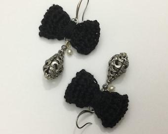 Long earrings knot of flax - Perle drop Filigranee old - silver black aged