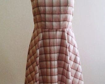 Plaid cotton summer dress 50's style