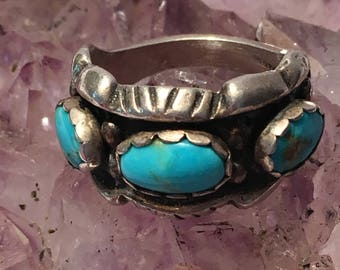 Vintage Native American .925 Sterling Silver Turquoise Ring Size 6