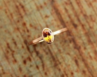 14k roségold ring with mandarin garnet