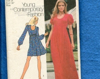 1970's Simplicity 9764 Raised Waist Baby Doll Dress with Puff Sleeves & Scoop Neckline Size 14