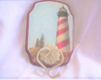 Lighthouse Coat Hook,Double Hook Coat Rack,Lighthouse Hat Rack,Wood Plaque Towel Hanger,Lighthouse Plaque,Lighthouse Wood Plaque