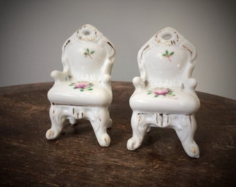Vintage Ceramic Doll House Miniatures Chair Set of 2 Miniature Chairs Hand Painted Marie Antoinette Floral and White Porcelain Marked Japan