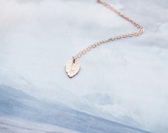 Tiny Rose Gold Leaf Necklace, Rose Gold Necklace