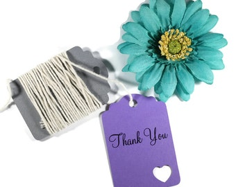 Purple Thank You Tags Set of 20 - Die Cut Gift Tags - Favor Tags - Merchandise Tags - Wedding Tags - Purple Thank You Heart Tags - Party Tag
