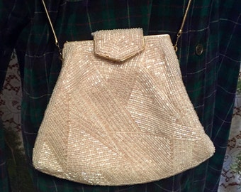 FLASH SALE!!!Vintage Pearl Iridescent Off White Beaded Evening Purse Gold Chain Strap Elegant Handbag Clutch