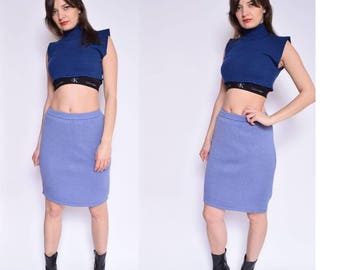 Vintage 90's Lilac Knit Skirt / High Waist Knit Skirt / Purple Knit Skirt - Size Small/S