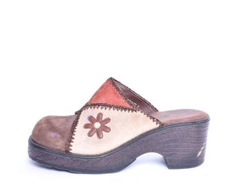 Vintage 90's Suede Leather Clogs / Patchwork Suede Clogs / Brown Leather Platform Clogs