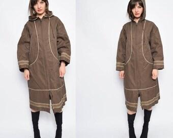 Vintage 90's Brown Zipper Raincoat / Brown Hooded Raincoat / Embellished Brown Raincoat - Size Large