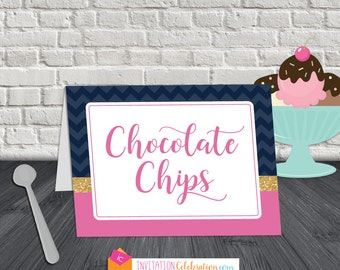 Food Label Tent Cards - Navy Blue Chevron - Pink - Glitter Gold - PRINTABLE/DIGITAL - 8 items/cards - Choose Folded Tent or Flat Label