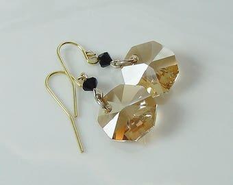Swarovski Golden Shadow Octagon & Jet Crystal Earrings
