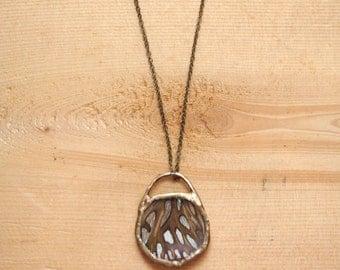 Round Gulf Fritillary Necklace, cruelty free, soldered glass, brass, minimalist, simple, ready to ship