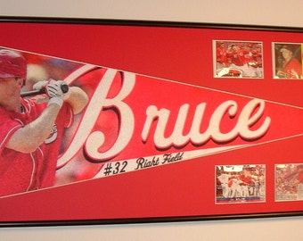 Cincinnati Reds Jay Bruce Player Pennant & Cards...Custom Framed!