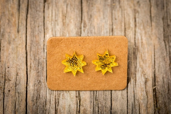 FREE SHIPPING WORLDWIDE - Gold Christmas Stars Earrings - Surgical Steel - Studs - Gift Box - Handmade Bamboo Wood Earrings - Studs